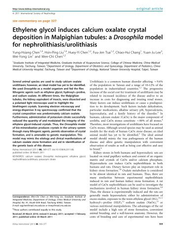Ethylene glycol induces calcium oxalate crystal deposition in ...