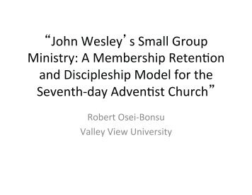 John Wesley's Small Group Ministry - Adventistarchives.org