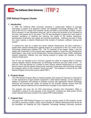 ITRP Refresh Program Charter - Humboldt State University