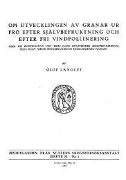 OM UTVECKLINGEN AV GRANAR UR FRÖ EFTER ...