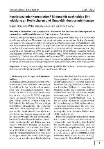 Koexistenz oder Kooperation? Bildung für nachhaltige Entwicklung ...