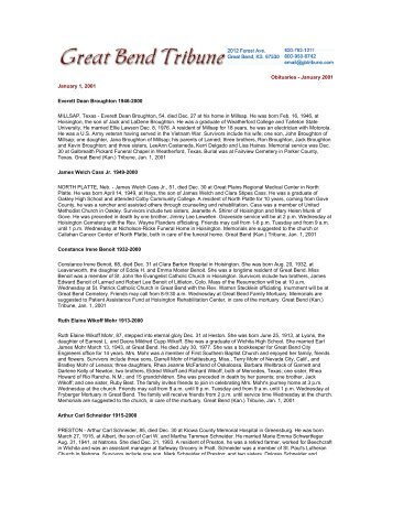 Obituaries - January 2001 January 1, 2001 Everett Dean Broughton ...