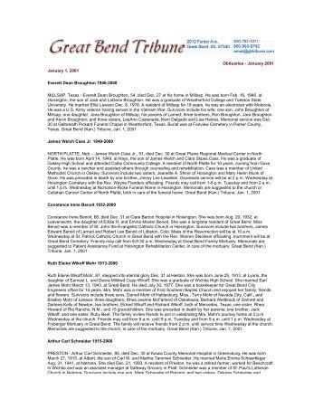 Obituaries - January 2001 January 1, 2001 Everett Dean Broughton ...