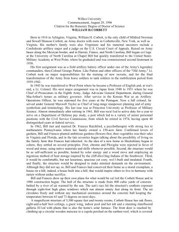 Wilkes University Commencement, August 29,1996 Citation for the ...