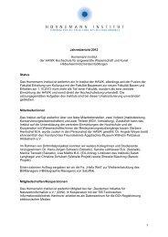 1 Jahresbericht 2012 Hornemann Institut der HAWK Hochschule für ...