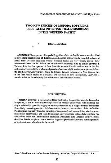 TWO NEW SPECIES OF ISOPODA BOPYRIDAE (CRUSTACEA ...