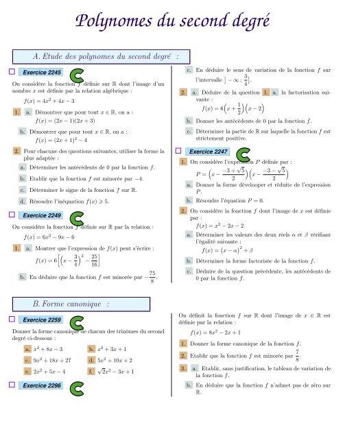 Forme Canonique Polynome Second Degré Exercice Collection