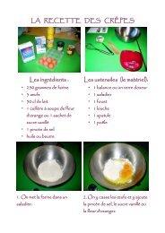 LA RECETTE DES CRÊPES Les ingrédients : Les ustensiles (le ...
