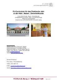 PJ-Curriculum für das Praktische Jahr in der Hals-, Nasen ...