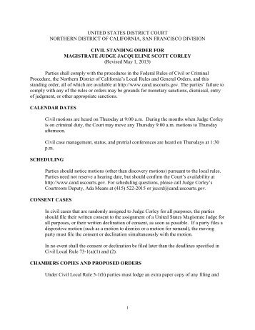 Magistrate Judge Corley's Civil Standing Order - United States ...