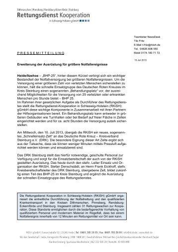 Pressemitteilung: Übergabe Zelt an das DRK Steinburg - RKiSH
