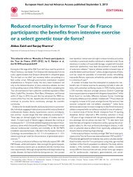 Reduced mortality in former Tour de France participants ... - SBHCI