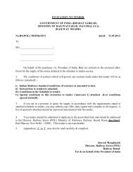 INVITATION TO TENDER GOVERNMENT OF ... - Indian Railway
