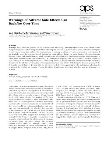Warnings of Adverse Side Effects Can Backfire Over Time