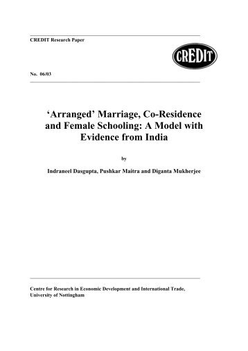'Arranged' Marriage, Co-Residence and Female Schooling: A Model ...