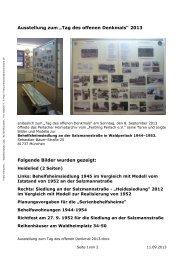 """Ausstellung zum """"Tag des offenen Denkmals"""" 2013 Folgende Bilder ..."""