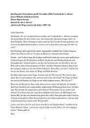 Bach-Kantate-Gottesdienst am 29. November 2008, Vorabend des 1 ...