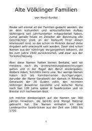 Alte Völklinger Familien 1600 - 1800 - SAAR-AHNEN-KLEIN
