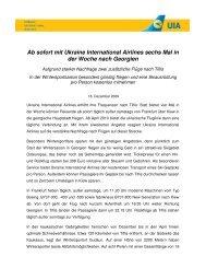 Ab sofort mit Ukraine International Airlines sechs Mal in der Woche ...