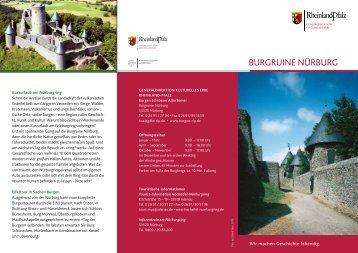 Flyer Burgruine Nürburg - Burgen, Schlösser, Altertümer