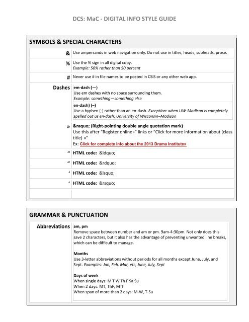 DCS: MaC - DIGITAL INFO STYLE GUIDE SYMBOLS & SPECIAL