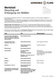 Merkblatt Recycling - Gemeinde Flims