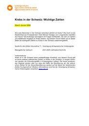Krebs in der Schweiz: Wichtige Zahlen - Krebsliga Schweiz