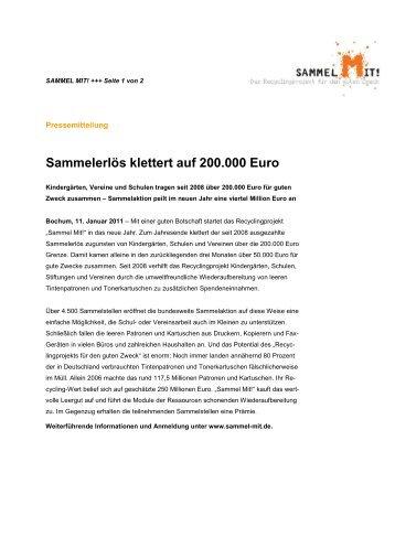 Sammelerlös klettert auf 200.000 Euro - 12QUADRAT