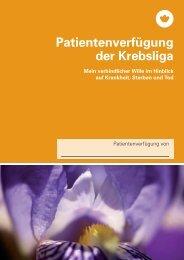 Patientenverfügung der Krebsliga - Krebsliga Schweiz