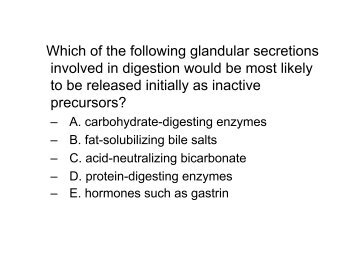 Which of the following glandular secretions involved in digestion ...