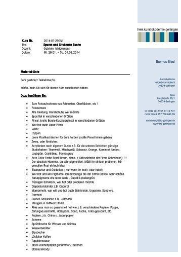 2014-01-29GM Spuren und Strukturen Middelmann Materialliste