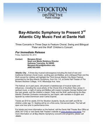 Bay-Atlantic Symphony to Present 3 Atlantic City Music Fest at Dante ...