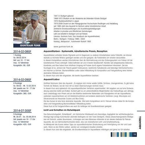 Katalog des Kursprogramms 2014 - Freie Kunstakademie Gerlingen