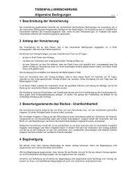 TODESFALLVERSICHERUNG Allgemeine Bedingungen 1 ...