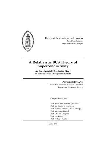 A Relativistic BCS Theory of Superconductivity - CP3 - UCL