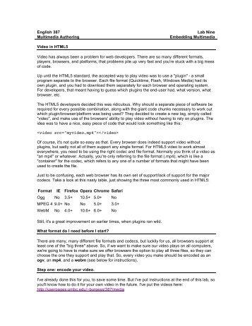 lab: multimedia - Personal Page - UMBC