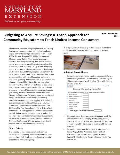 Budgeting to Acquire Savings - University of Maryland Extension