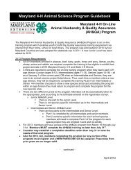 Maryland 4-H Online Animal Husbandry and Quality Assurance