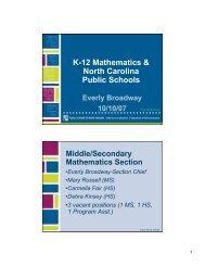 K-12 Mathematics & North Carolina Public Schools