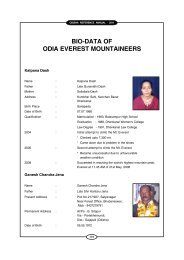 bio-data of odia everest mountaineers - Government of Orissa