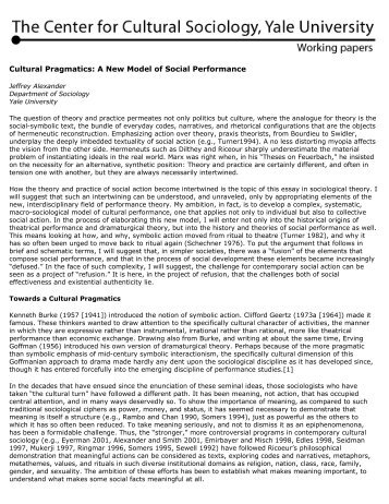 Center for Cultural Sociology | Working papers