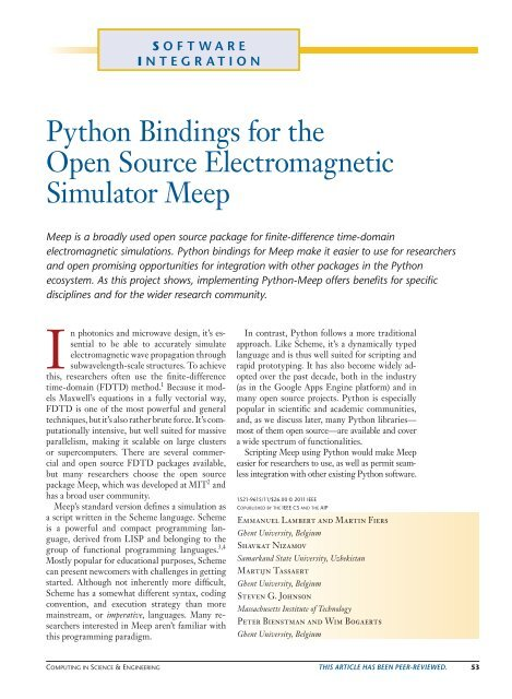 Python Bindings for the Open Source Electromagnetic