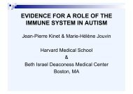 EVIDENCE FOR A ROLE OF THE IMMUNE SYSTEM IN AUTISM