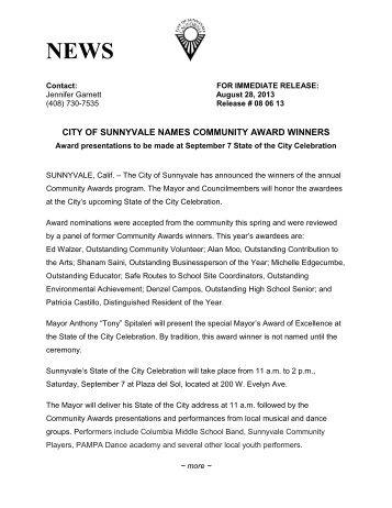 CITY OF SUNNYVALE NAMES COMMUNITY AWARD WINNERS