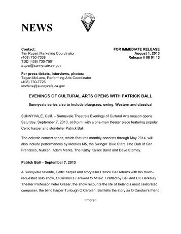 EVENINGS OF CULTURAL ARTS OPENS WITH PATRICK BALL