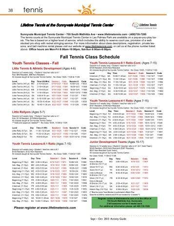 Tennis Class Schedule