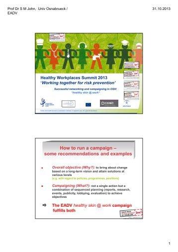 Download presentation Prof Dr S M John - European Agency for ...