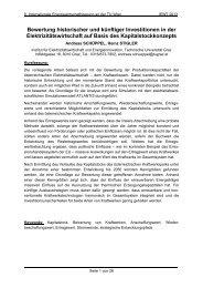 Bewertung historischer und künftiger Investitionen in der ... - EEG