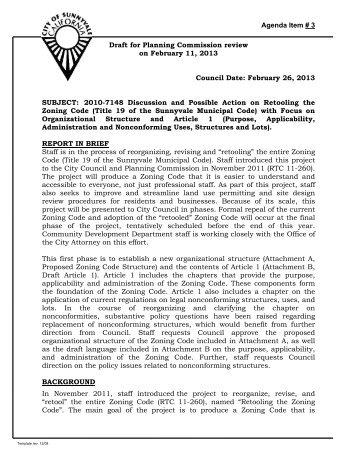 Agenda Item # 3 Draft for Planning Commission ... - City of Sunnyvale