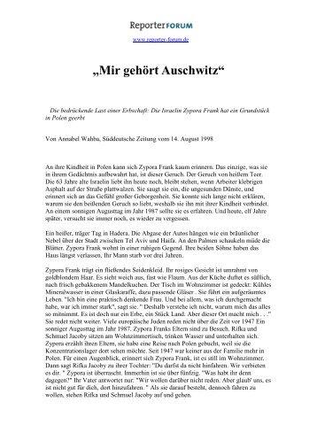 """""""Mir gehört Auschwitz"""" - Reporter-Forum"""